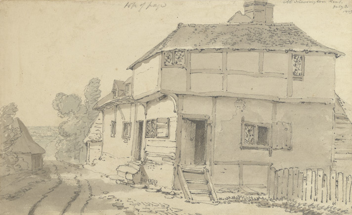 Pencil drawing of old house in Newington, 18th or 19th century